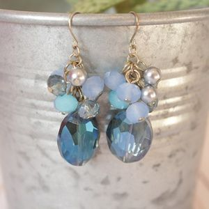 Blue Glass Beaded Dangle Earrings